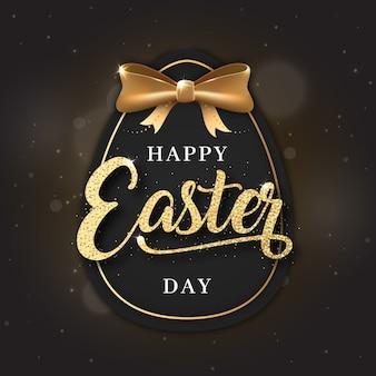 Fondo dorado feliz día de pascua con huevo
