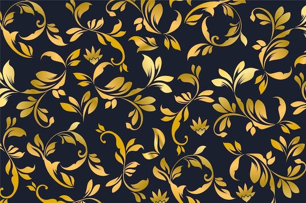 Fondo dorado floral ornamental