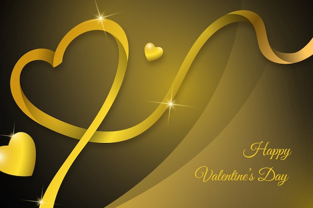 Fondo dorado de lujo feliz día de san valentín