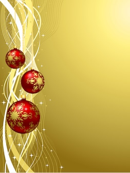 Fondo dorado de navidad con bolas