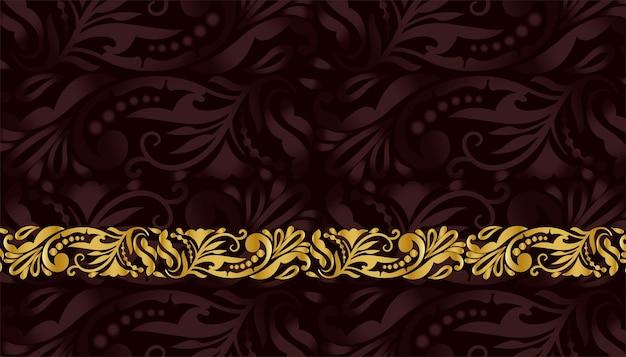 Fondo dorado de patrón floral premium real