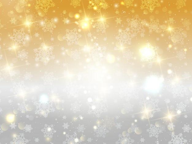 Fondo dorado y plateado brillante de copos de nieve