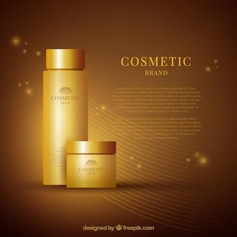 Fondo dorado de productos cosméticos