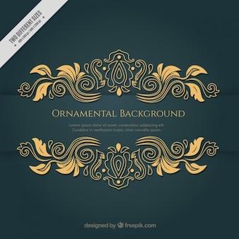 Fondo dorado victoriano con elementos ornamentales