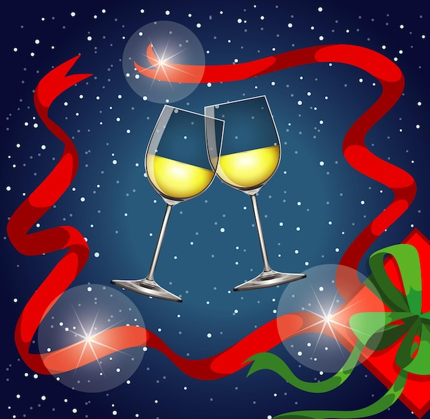 Fondo con dos copas de champán y fuegos artificiales