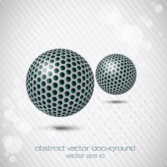 Fondo con dos esferas de colores abstractos. vector