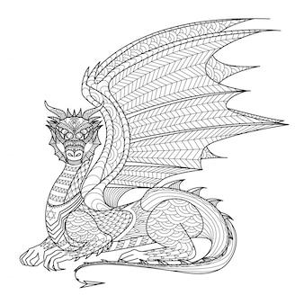Fondo de dragón dibujado a mano