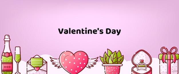 Fondo dulce lineal de san valentín
