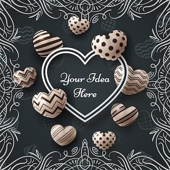 Fondo dulce con marco en forma de corazón