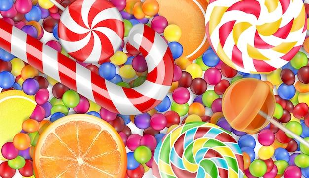 Fondo de dulces con un caramelo de pila