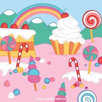 Fondo de dulces colorido