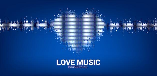 Fondo del ecualizador de música del icono de corazón de la onda