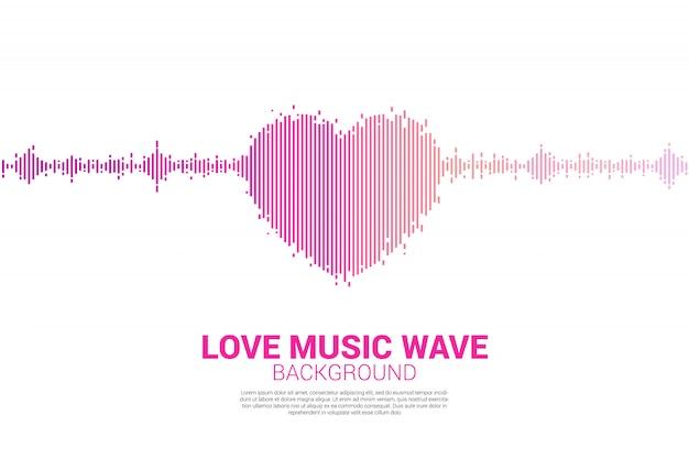 Fondo del ecualizador musical del icono del corazón de la onda acústica