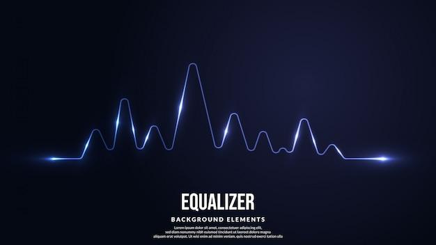 Fondo de ecualizador de onda con luz brillante