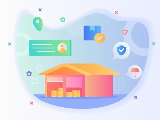 Fondo de edificio de almacén de puerta enrollable abierta del paraguas de escudo de punto de ubicación de dirección de paquete de caja con diseño vectorial de estilo plano