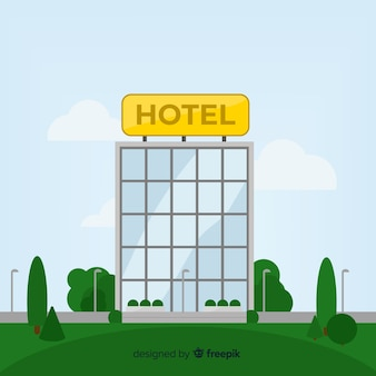 Fondo edificio de hotel plano