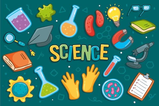 Fondo de educación científica dibujado a mano