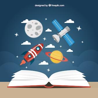 Fondo de educación espacial Vector Premium