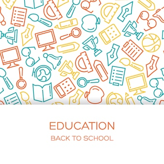 Fondo de educación con iconos alineados