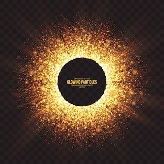 Fondo de efecto de explosión de partículas doradas brillantes