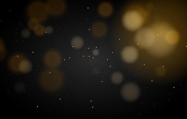 Fondo de efecto de luces bokeh mágico abstracto brillo de oro negro para navidad