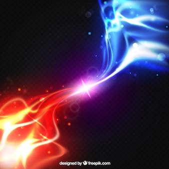 Fondo de efecto de luz realista de dos fuerzas