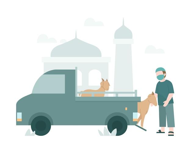 Fondo de eid al-adha con un hombre deja caer un animal de una ilustración de camión