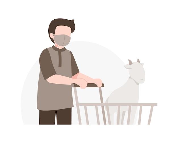 Fondo de eid al-adha con un hombre musulmán comprar una cabra usando la ilustración del carrito de compras
