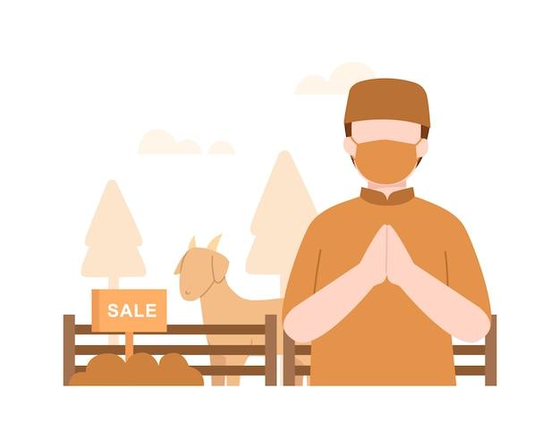 Fondo de eid al-adha con un hombre musulmán vender una ilustración de cabra