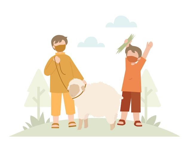 Fondo de eid al-adha con una ilustración de niños y ovejas
