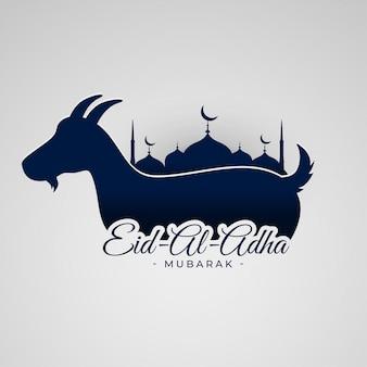 Fondo eid al adha mubarak con cabra y mezquita.