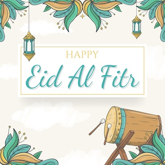 Fondo de eid al fitr dibujado a mano con adorno islámico