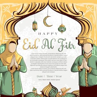Fondo de eid al fitr con dibujado a mano de pueblo musulmán y ornamento de ramadán islámico sobre fondo blanco de grunge.