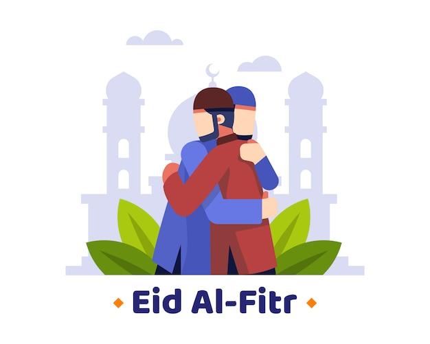 Fondo de eid al fitr con dos musulmanes abrazados