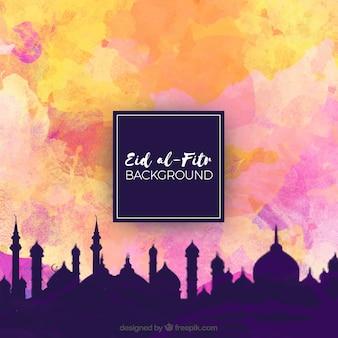 Fondo de eid al fitr de paisaje de ciudad y cielo de acuarela