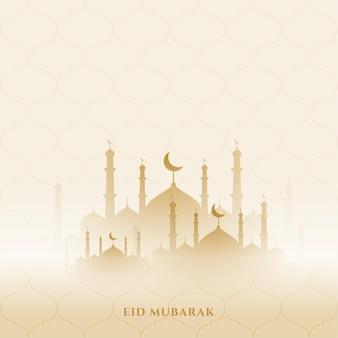 Fondo de eid mubarak con diseño de mezquita