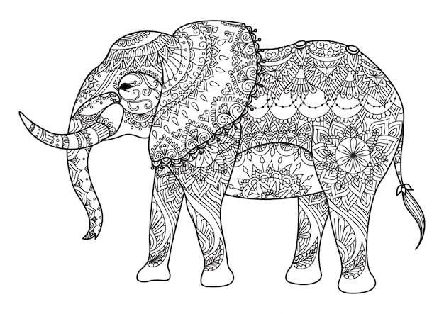 Fondo de elefante dibujado a mano