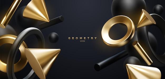 Fondo elegante abstracto con formas geométricas fluidas negras y doradas