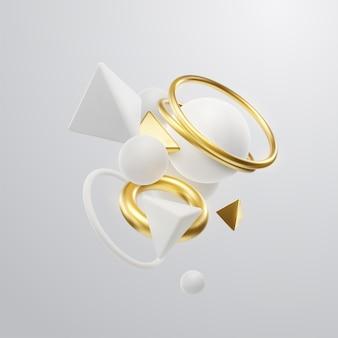 Fondo elegante abstracto con nubes de clúster de formas geométricas 3d blancas y doradas