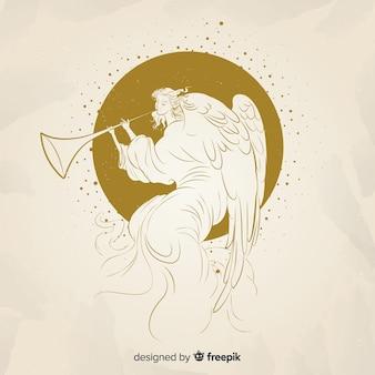 Fondo elegante de ángel de navidad dorado
