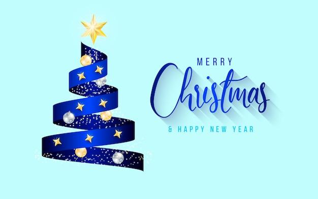 Fondo elegante con cinta de árbol de navidad azul