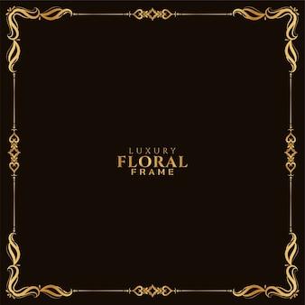 Fondo elegante de diseño de marco floral dorado de lujo