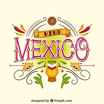 Fondo elegante de lettering de viva mexico