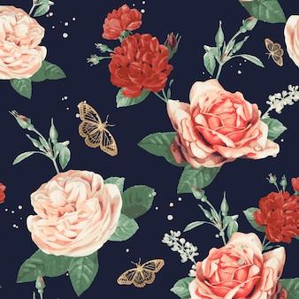 Fondo elegante del modelo del vector de las rosas de san valentín