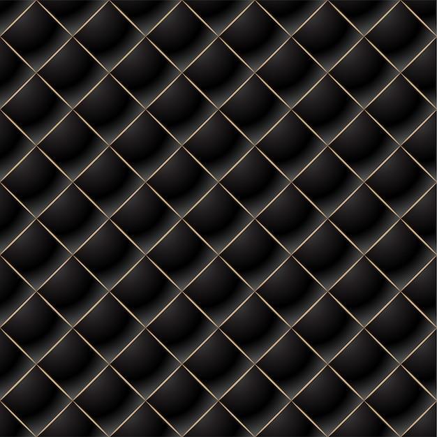 Fondo de elegante patrón acolchado vip negro y oro