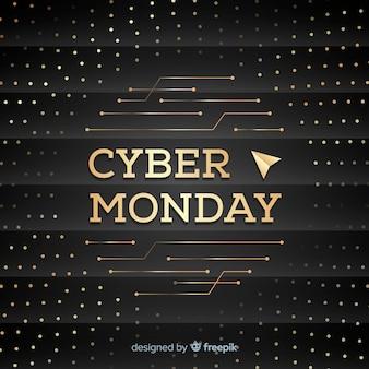 Fondo elegante de rebajas de cyber monday con letras doradas
