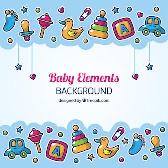 Fondo de elementos de bebé en estilo hecho a mano