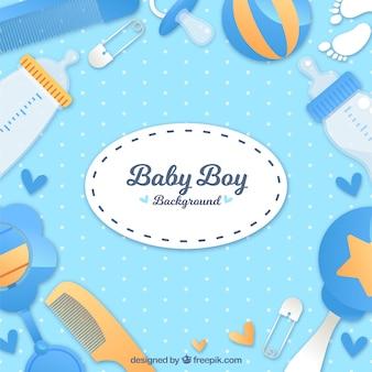 Fondo de elementos de bebé en estilo plano