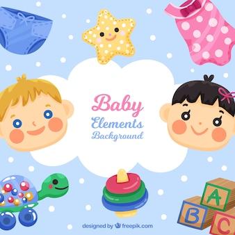 ce8d355c3 Fondo de elementos de bebé con lindos juguetes y ropa