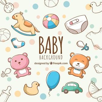 Fondo de elementos de bebé con lindos juguetes y ropa